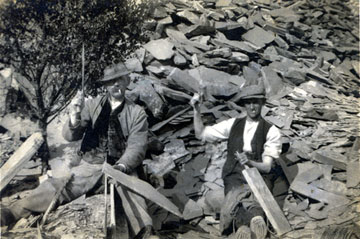 Two quarrymen working in one of the Nantlle Valley's slate quarries (circa 1900)