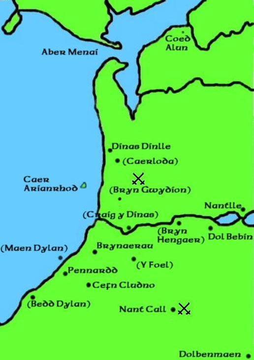 A map detailing the places related to the Fourth Branch of the Mabinogi
