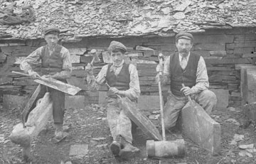 Three quarrymen working in one of the Nantlle Valley's slate quarries (circa 1890)